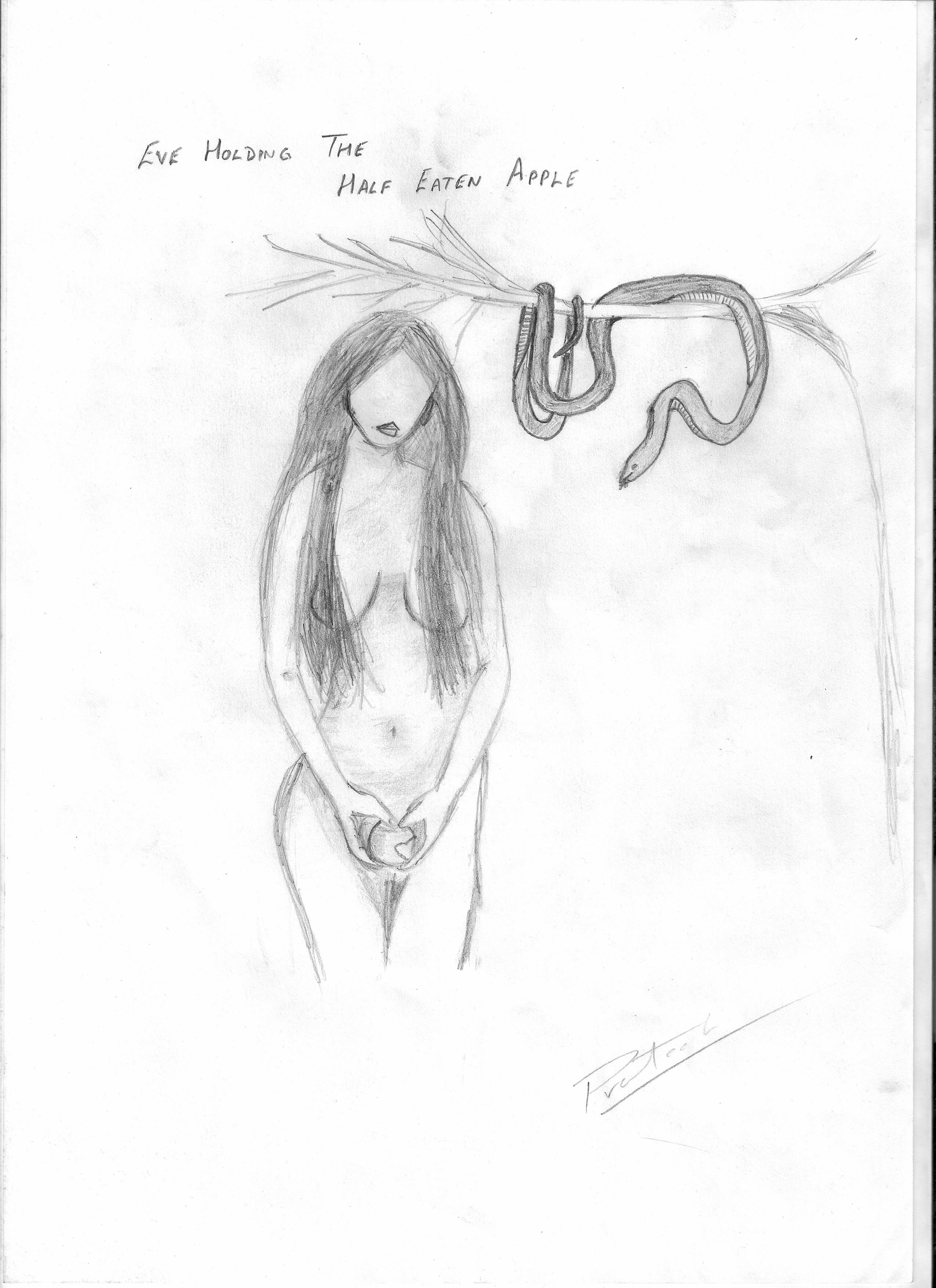 Might also be my last attempt to make a nude because frankly i am not happy with the result the snake looks better than eve and the overall sketch is